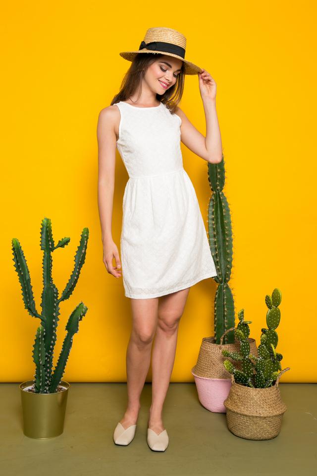 Isra Eyelet Sheath Dress in White