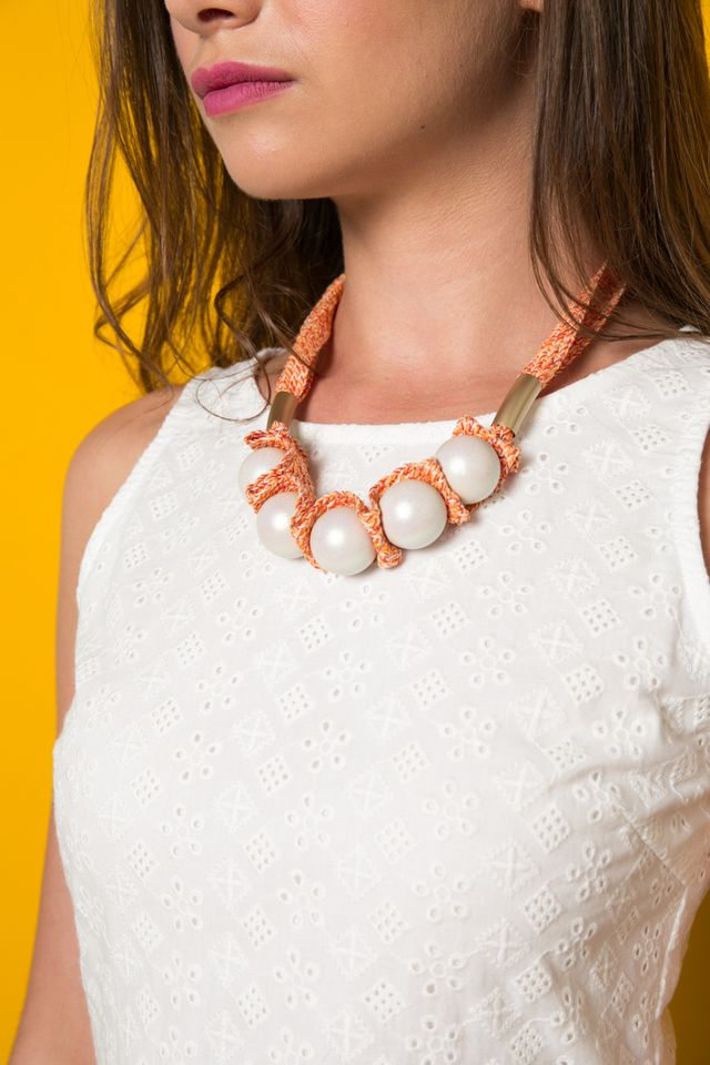 Tapio Bead Statement Necklace in White