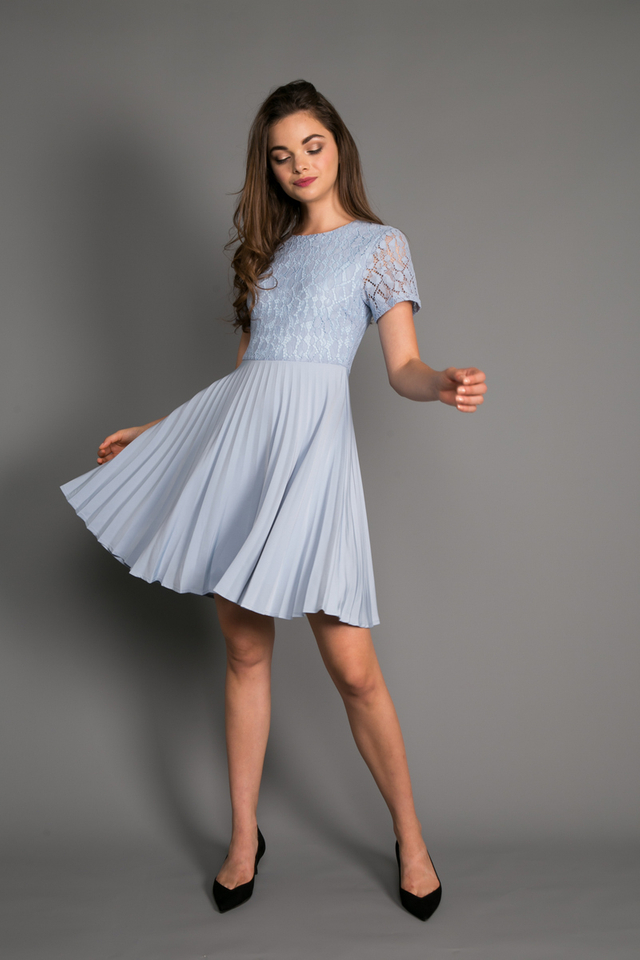Grania Lace Pleated Dress in Sky Blue