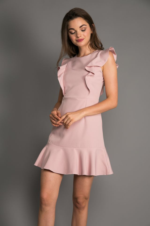 Holden Ruffled Hem Dress in Dusty Pink