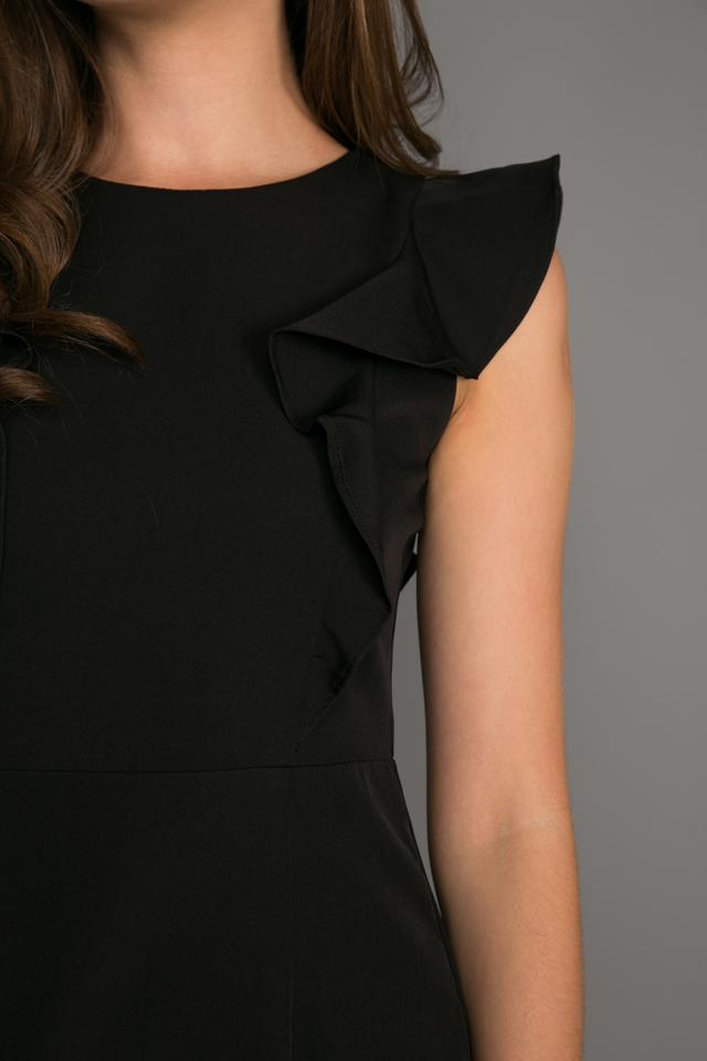 Holden Ruffled Hem Dress in Black (M)