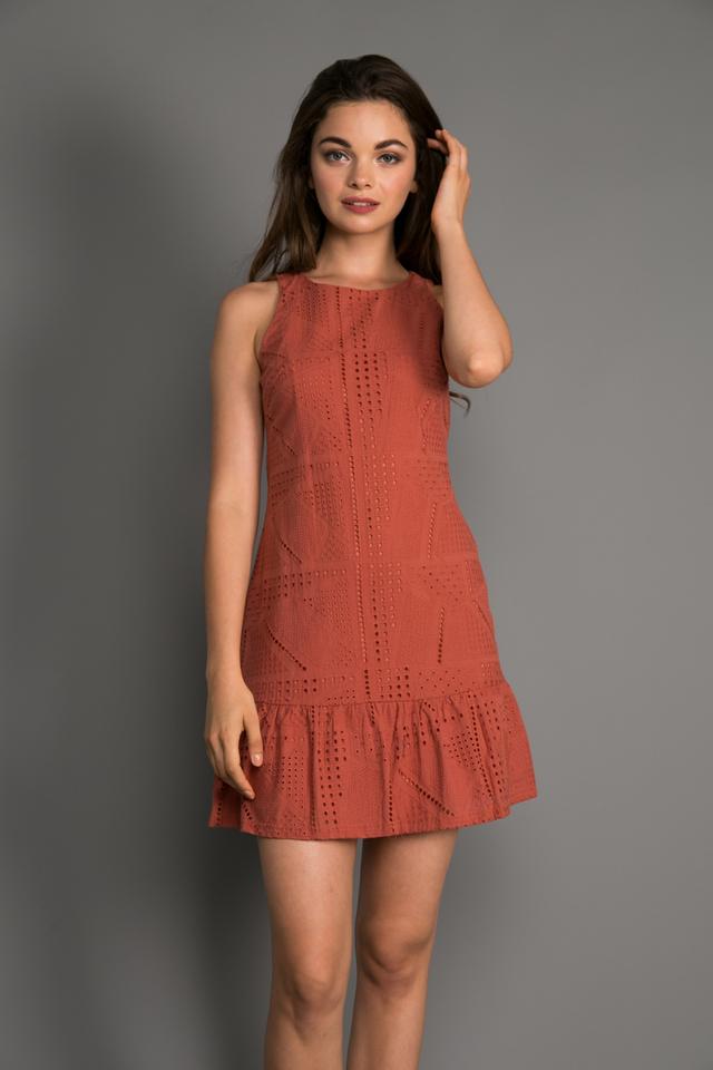 Kiera Eyelet Dropwaist Dress in Terracotta