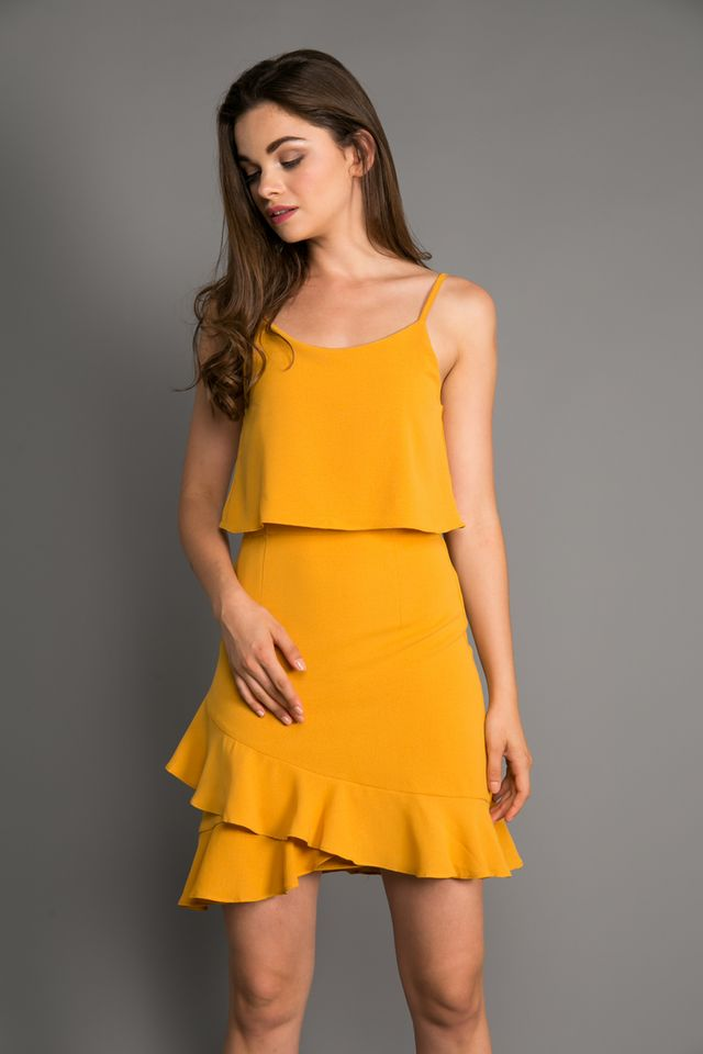 Marion Layered Ruffle Hem Dress in Mustard