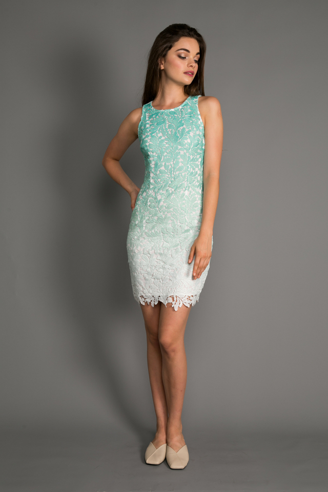 Renata Ombre Crochet Dress in Mint