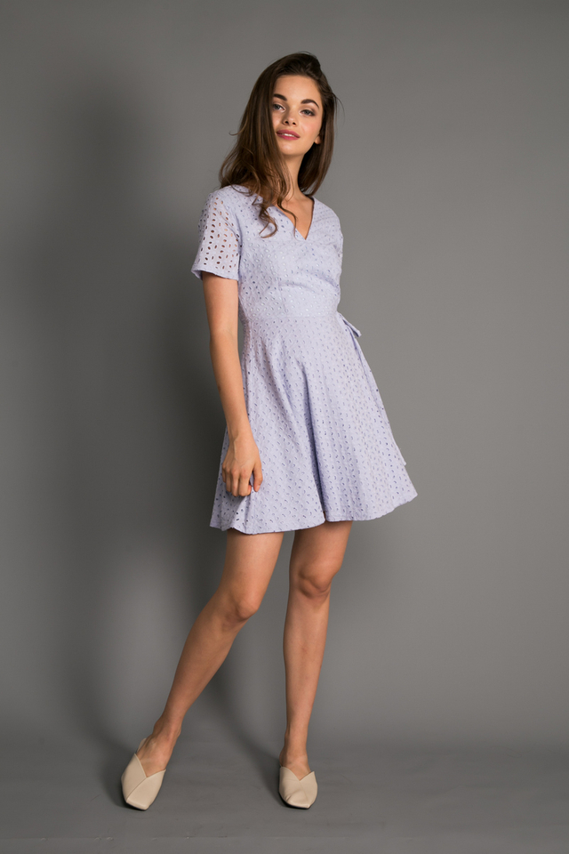 Ginny Eyelet Skater Dress in Periwinkle