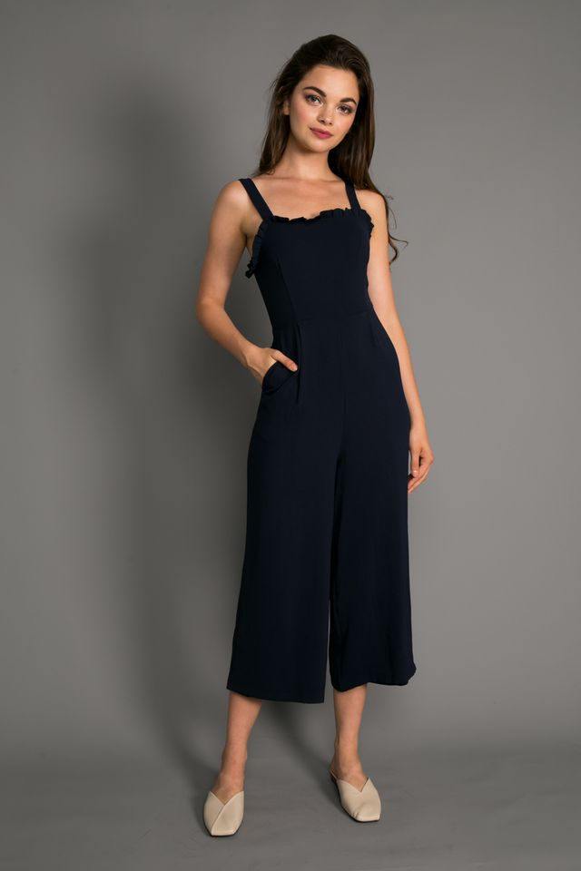 Blair Ruffled Top Jumpsuit in Navy (L)