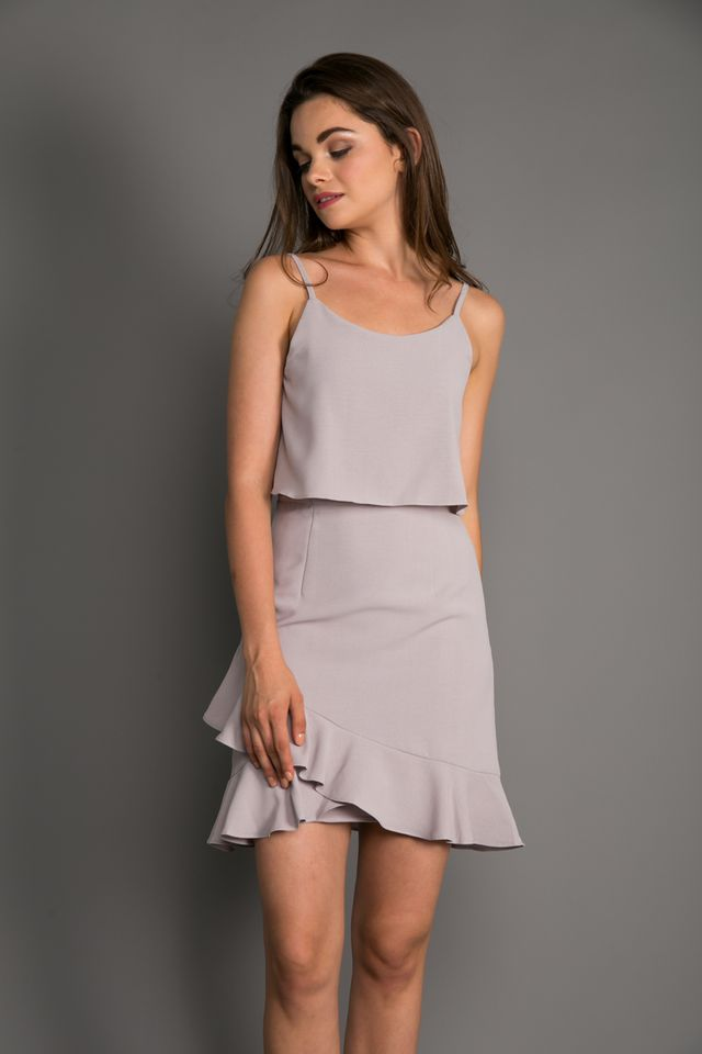Marion Layered Ruffle Hem Dress in Grey (XL)
