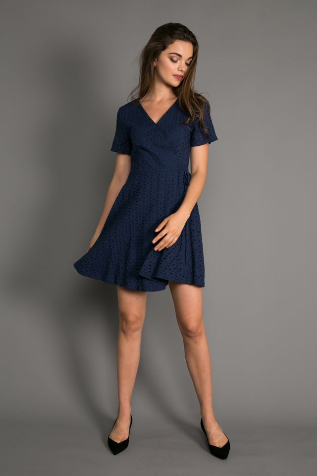 Ginny Eyelet Skater Dress in Navy