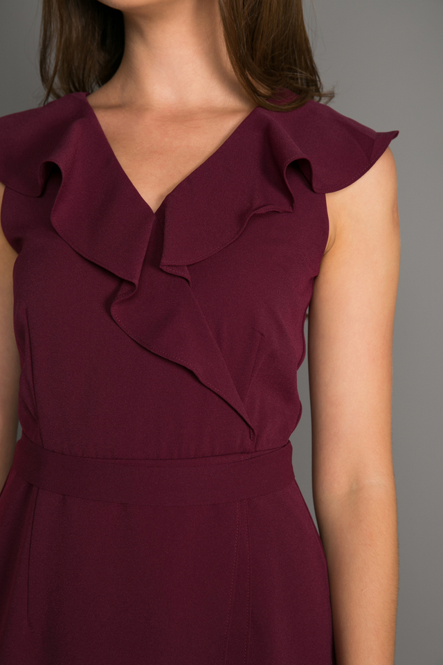 Odelle Ruffles Petal Dress in Plum