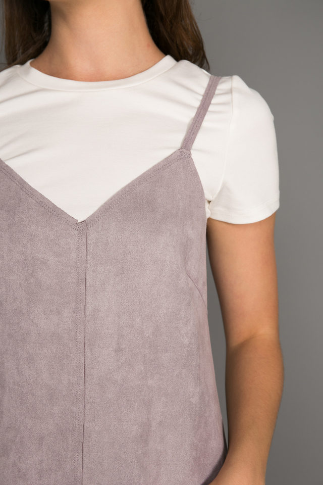 Connie Two-piece Suede Shift Dress in Lilac Grey