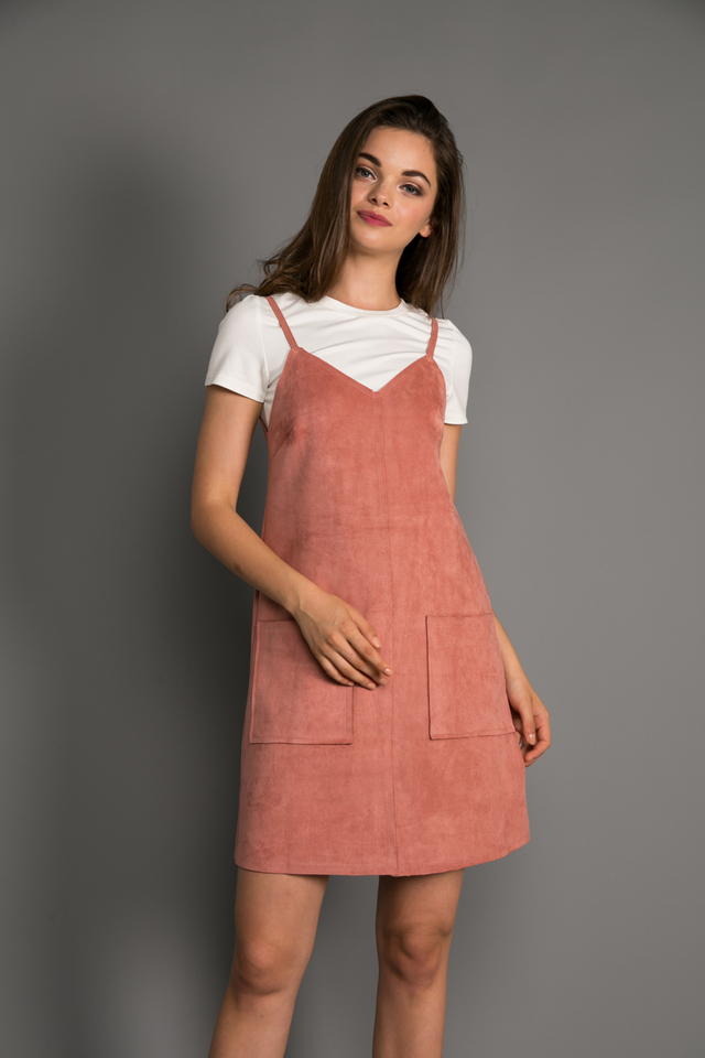 Connie Two-piece Suede Shift Dress in Rouge Pink