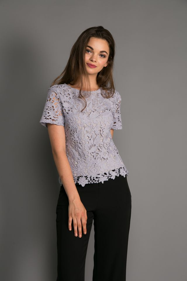 Darla Crochet Top in Lilac Grey