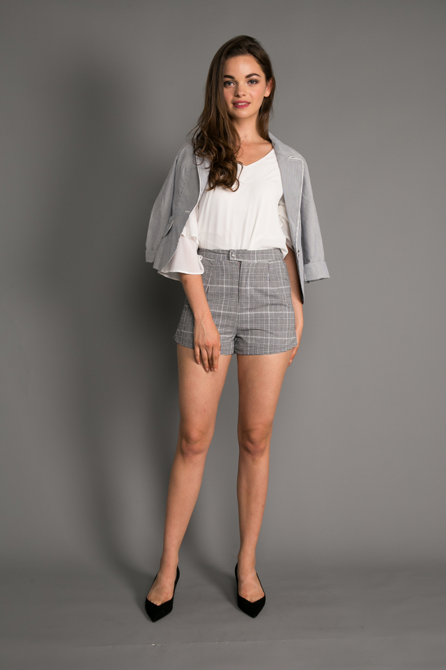 Reed Plaid Shorts in Black