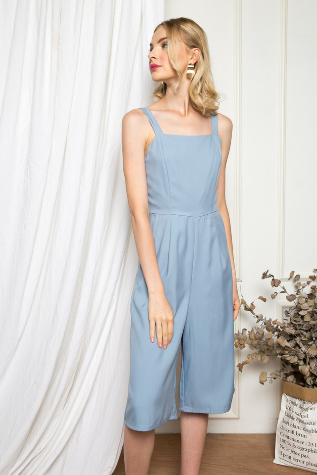 Olivette Basic Jumpsuit in Dusty Blue