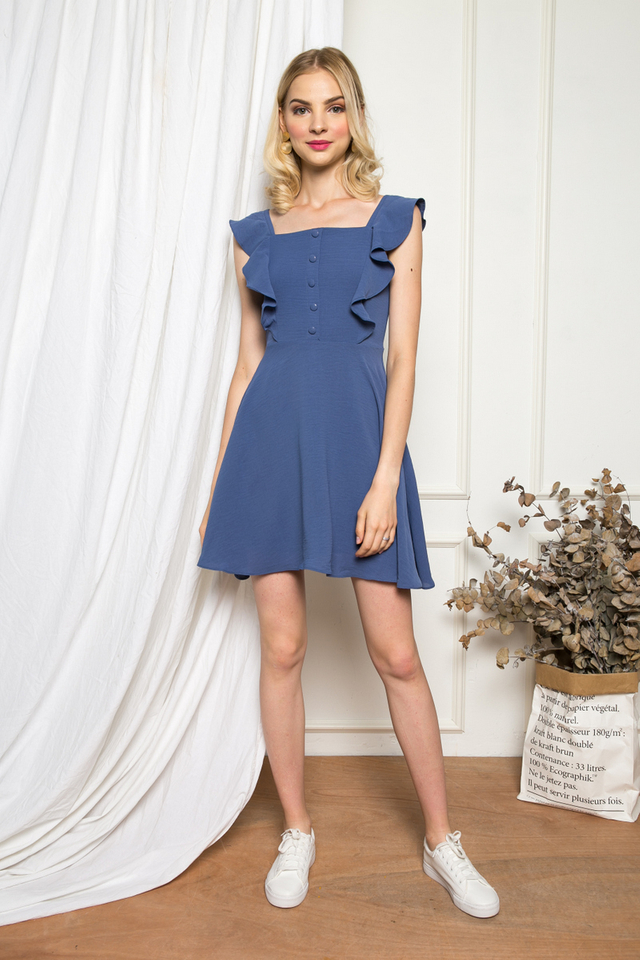 Rylene Ruffled Button Skater Dress in Stone Blue
