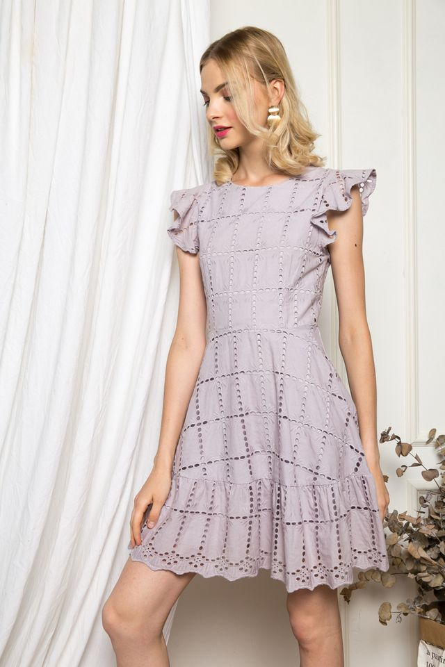Eiddwen Eyelet Ruffles Dress in Lilac Grey (XS)