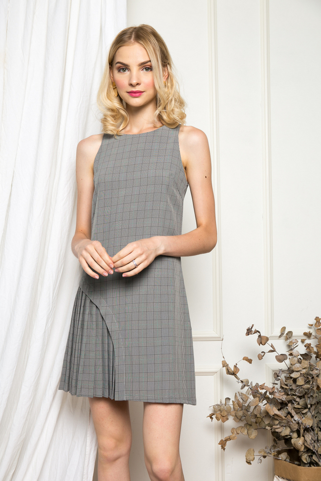 Wilona Asymmetrical Pleated Dress in Grey