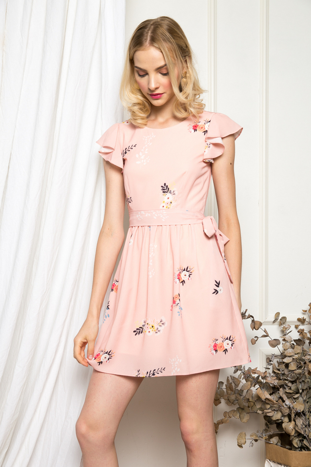 Rori Floral Ruffles Dress in Peach