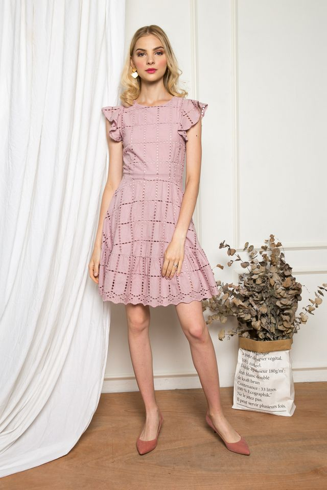 Eiddwen Eyelet Ruffles Dress in Dusty Pink