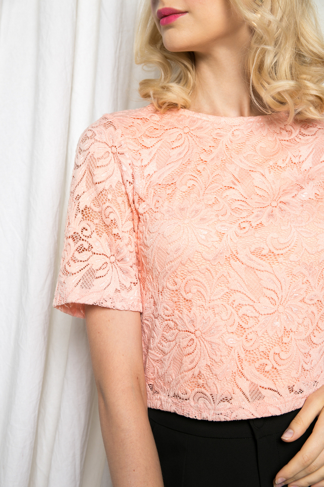Brena Lace Crop Top in Peach Pink