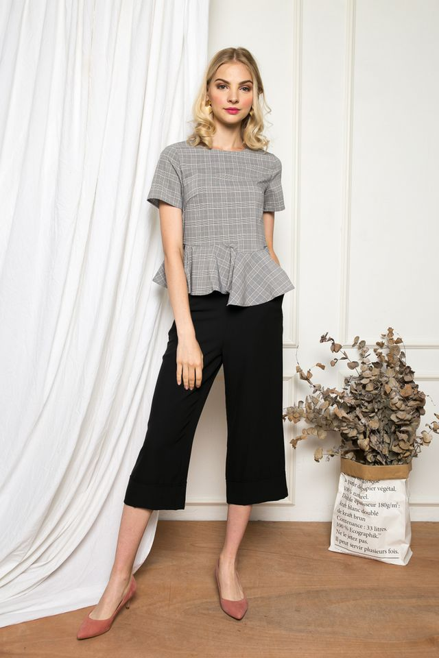 Kahlo Plaid Peplum Top in Black (XS)