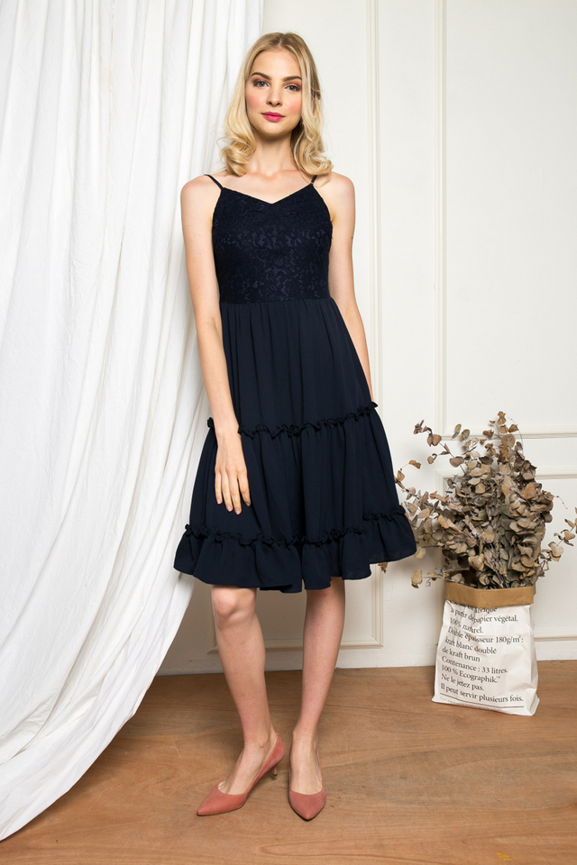 Gwendolen Lace Tiered Ruffles Dress in Navy