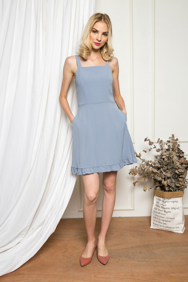 Joplynn Ruffled Skater Dress in Steel Blue