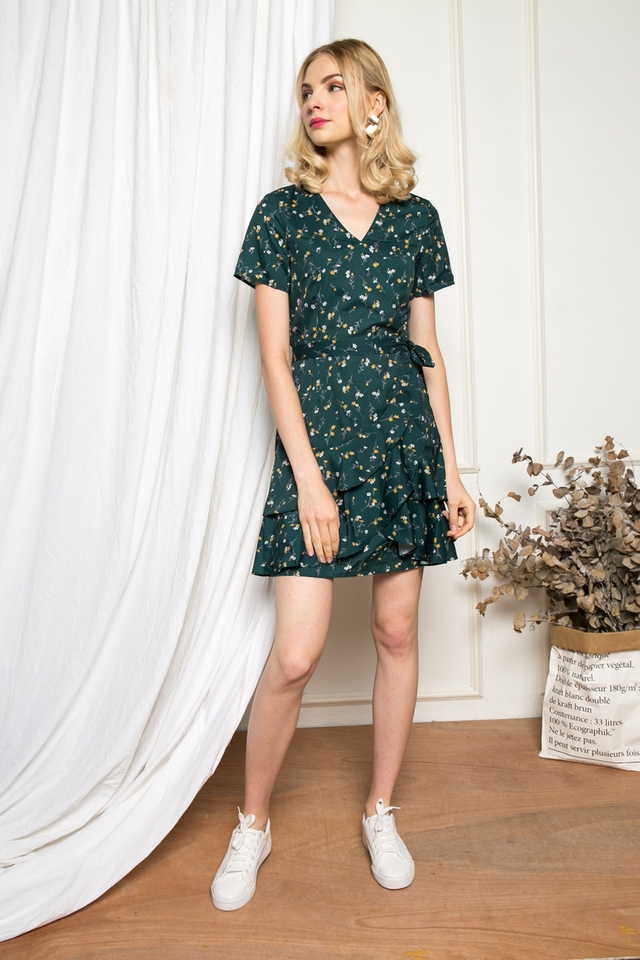 Roux Faux Wrap Floral Dress in Forest