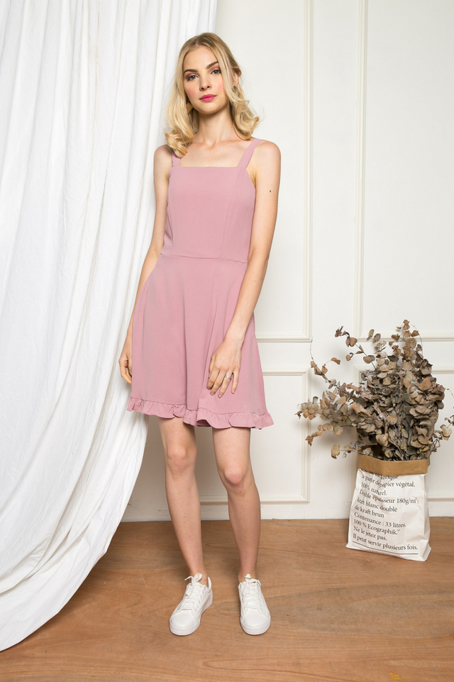 Joplynn Ruffled Skater Dress in Dusty Pink