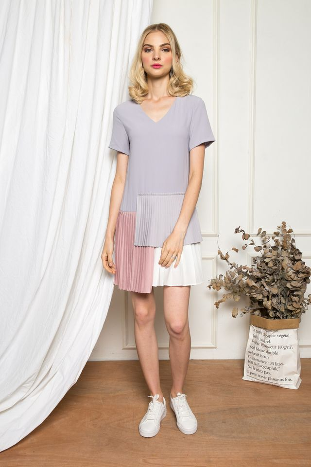 Altin Colourblock Pleated Dress in Lilac Grey (XS)