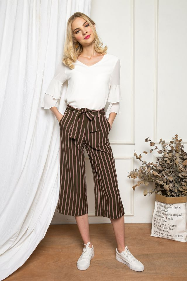 Blaise Striped Culottes in Olive