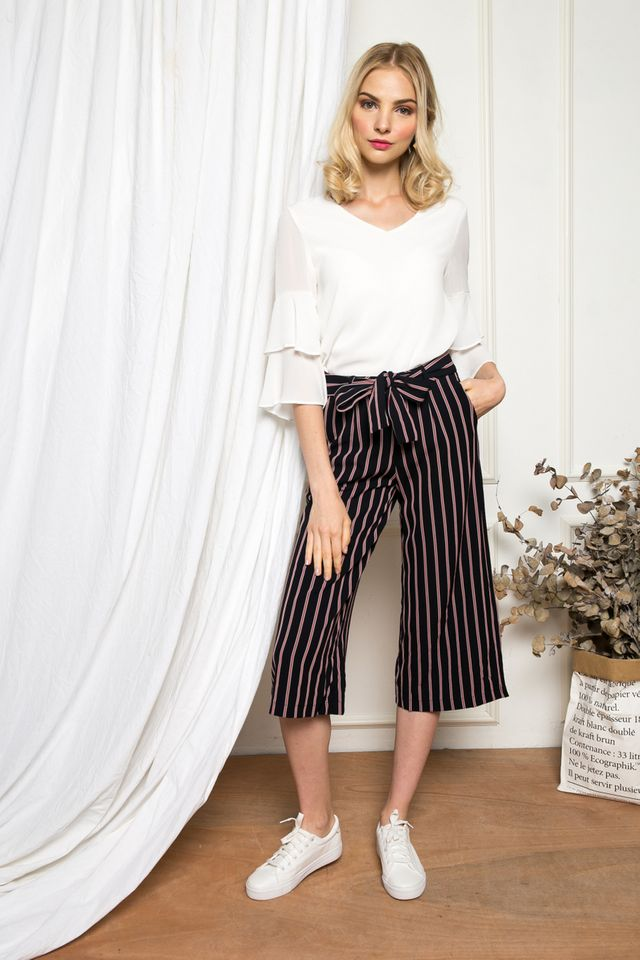 Blaise Striped Culottes in Navy