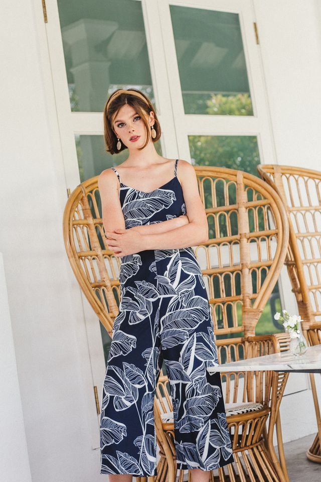 Nyree Foliage Jumpsuit in Navy