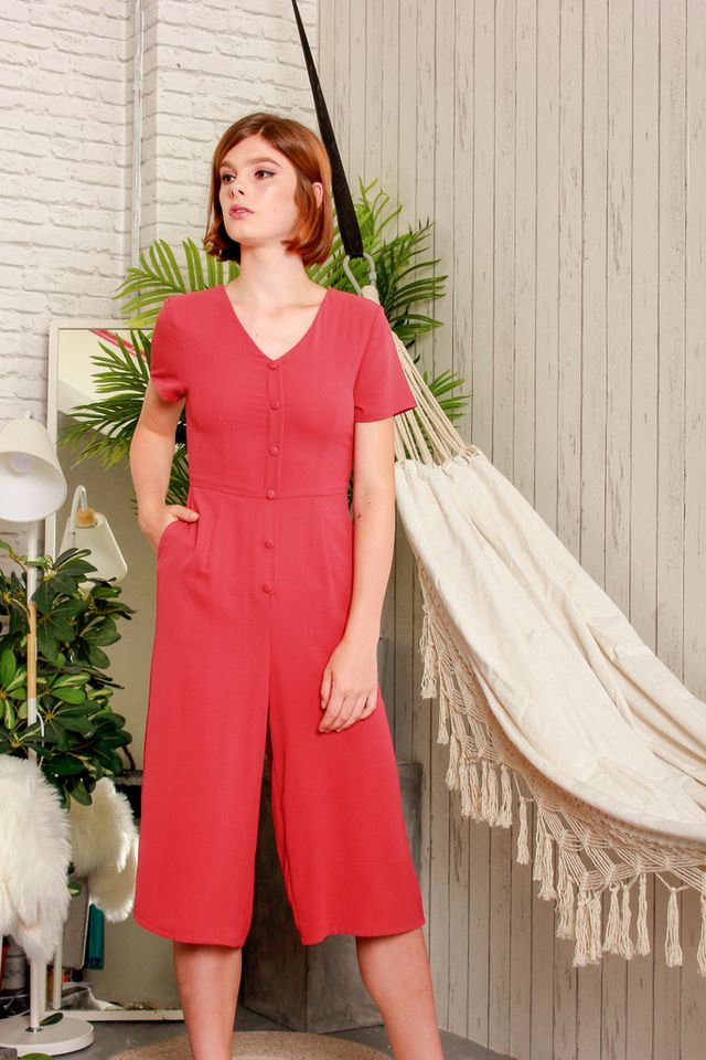 Abella Button Down Jumpsuit in Strawberry Pink (XS)
