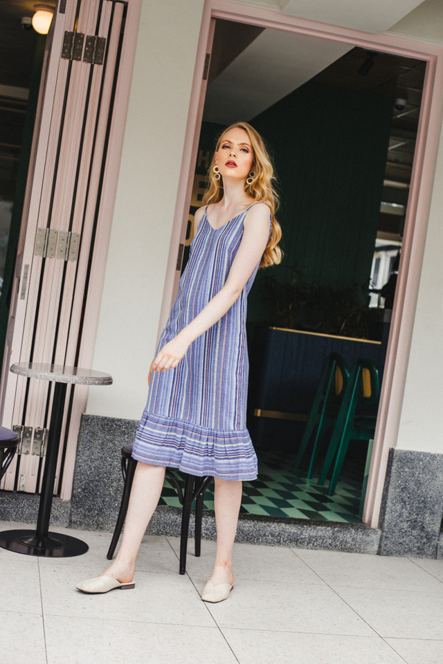 Linnet Striped Slip Dress in Blue