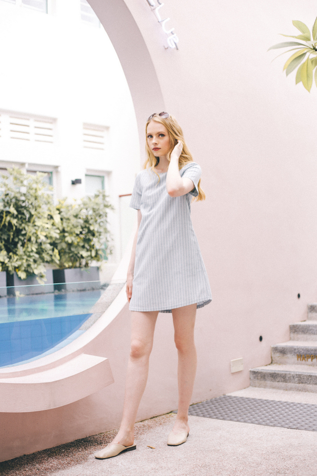 Merridie Striped Shift Dress in Light Blue