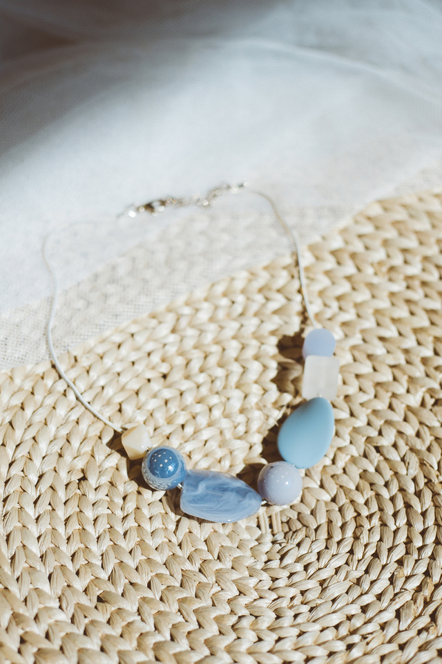 Fenna Pebble Necklace in Blue