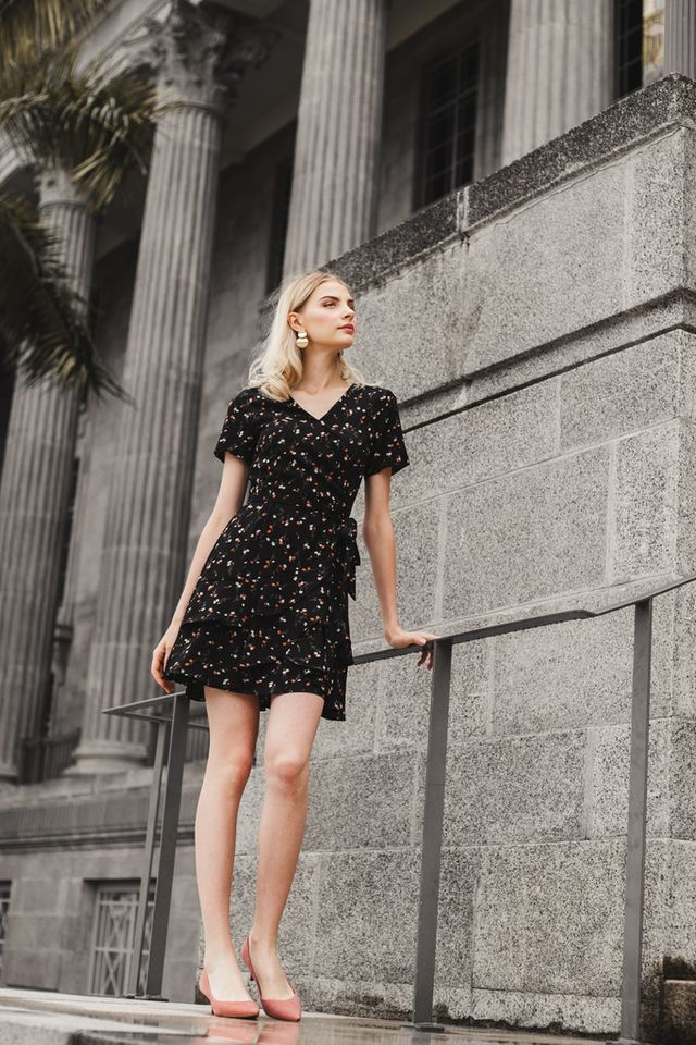 Roux Faux Wrap Floral Dress in Black
