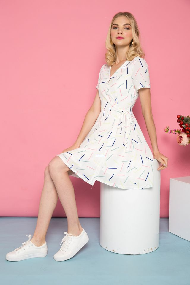 Kesdyn Sprinkles Faux Wrap Skater Dress in Pink