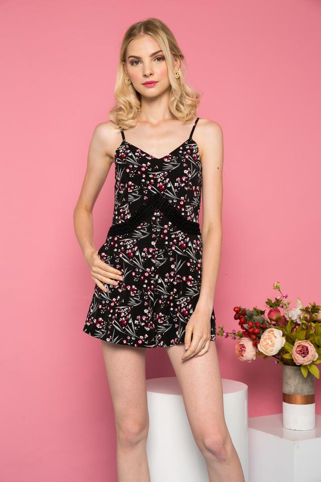 Ellarosa Floral Crocheted Romper in Black