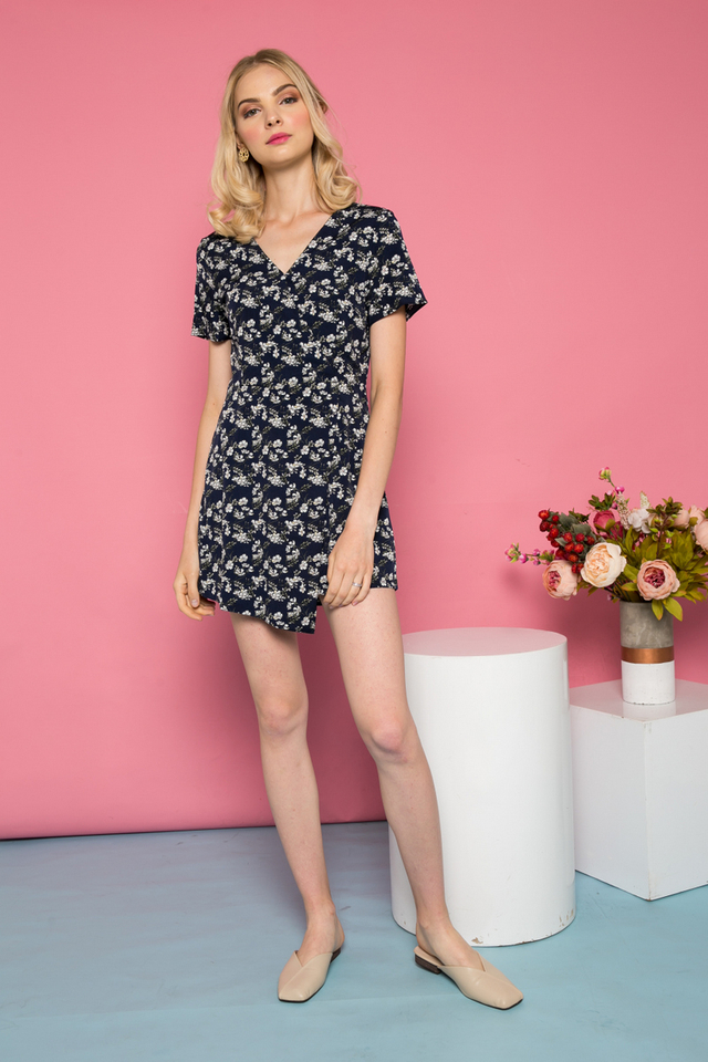 Thorin Floral Overlay Romper in Navy