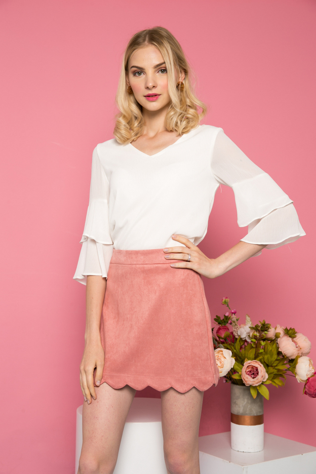 Sabriel Suede Scallop Hem Skirt in Terracotta