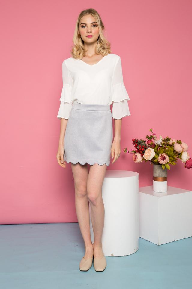 Sabriel Suede Scallop Hem Skirt in Lilac Grey
