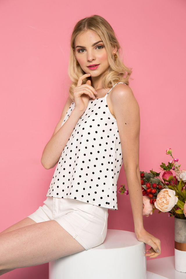 Harlet Polka Dot Halter Top in White (XL)