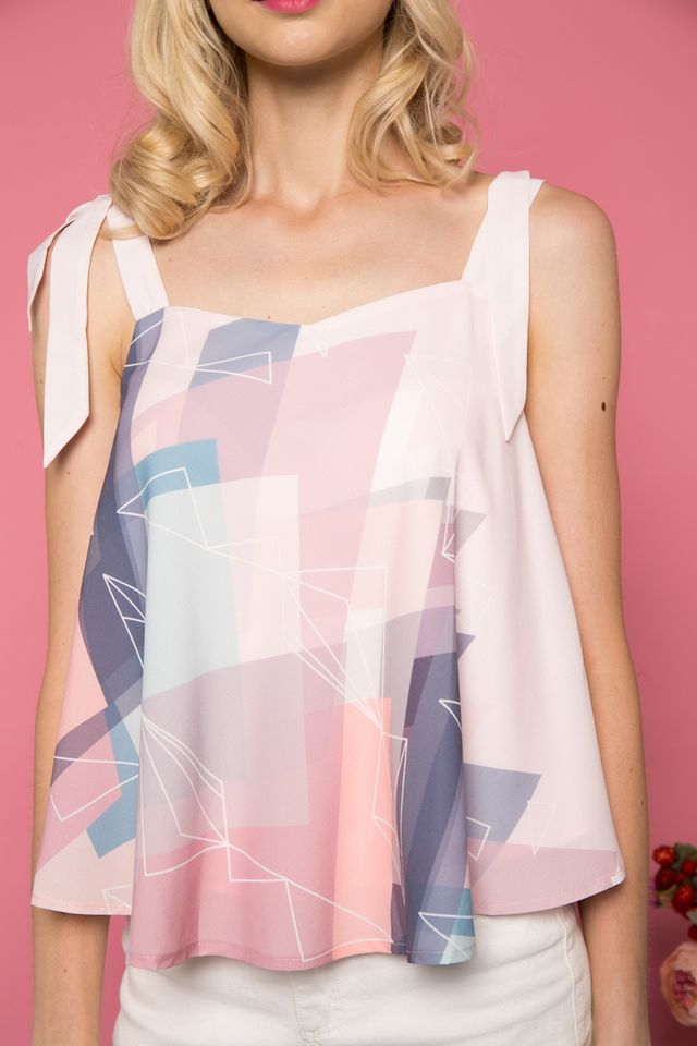 Donielle Geometric Flare Top in Pastel Pink