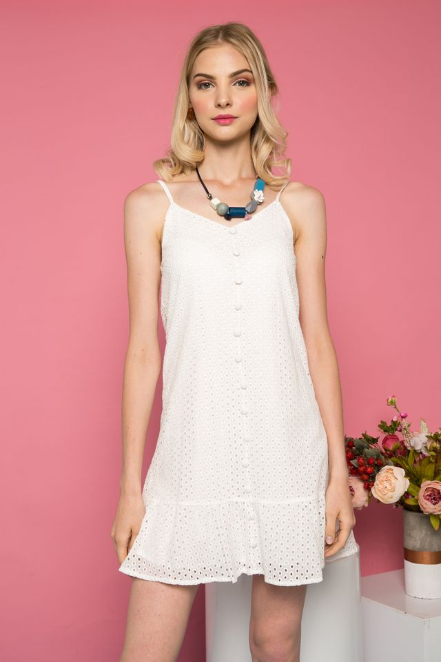 Gisette Button Down Eyelet Dress in White (XL)
