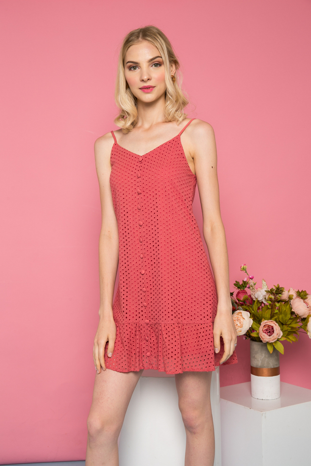 Gisette Button Down Eyelet Dress in Terracotta