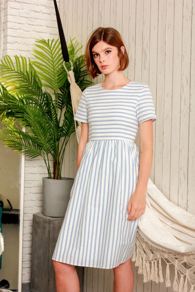 Autry Striped Midi Dress in Cornflower Blue