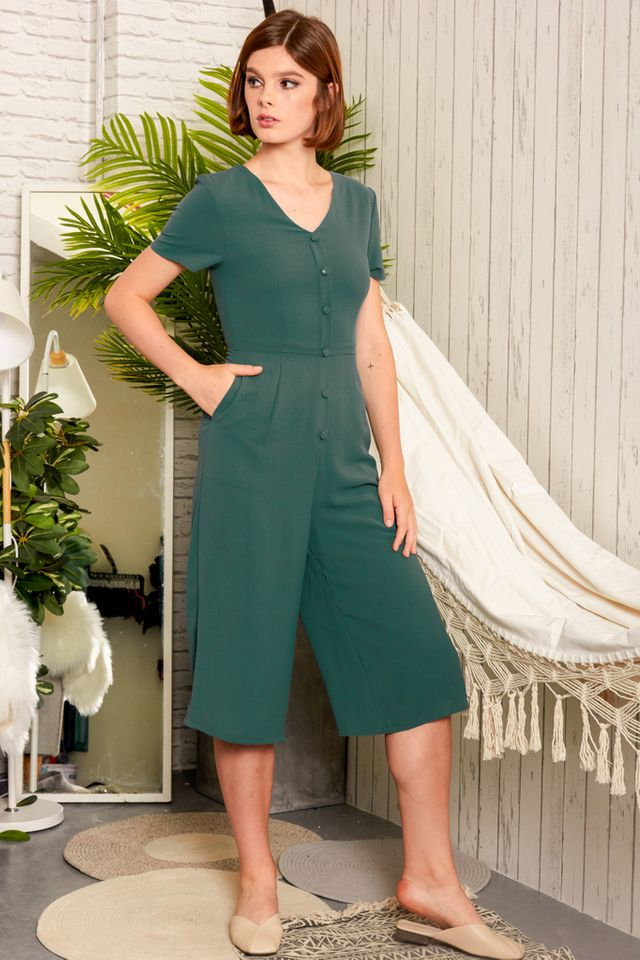 Abella Button Down Jumpsuit in Dark Emerald