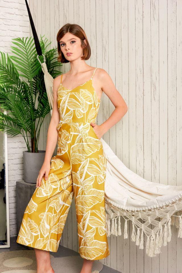 Nyree Foliage Jumpsuit in Dusty Mustard